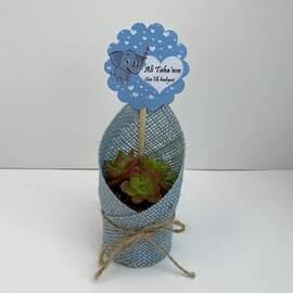 Bebe Mavi Renkli Jut  Kumaş Süslemeli Sukulent